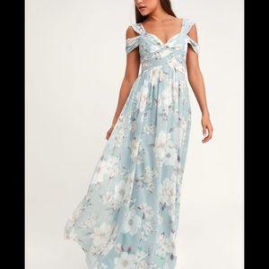 Lulus light blue floral print maxi dress